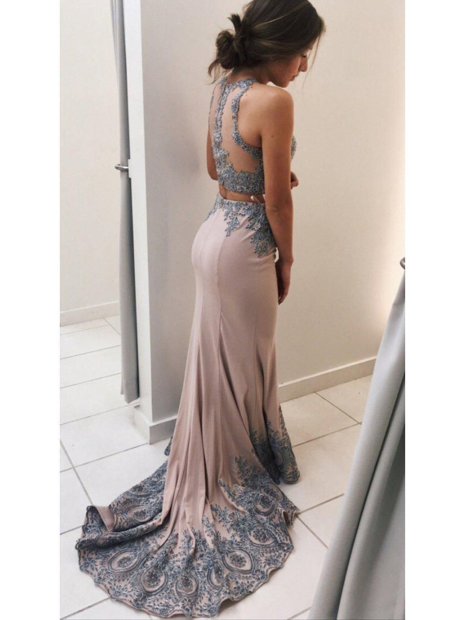 51b354a54b674 Halter Grey Lace Appliqued Jersey Mermaid Prom Dress with Sweep Train  APD2349