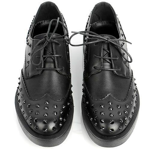 New Pointed Toe Man Handmade High Heels Studded Punk Rock