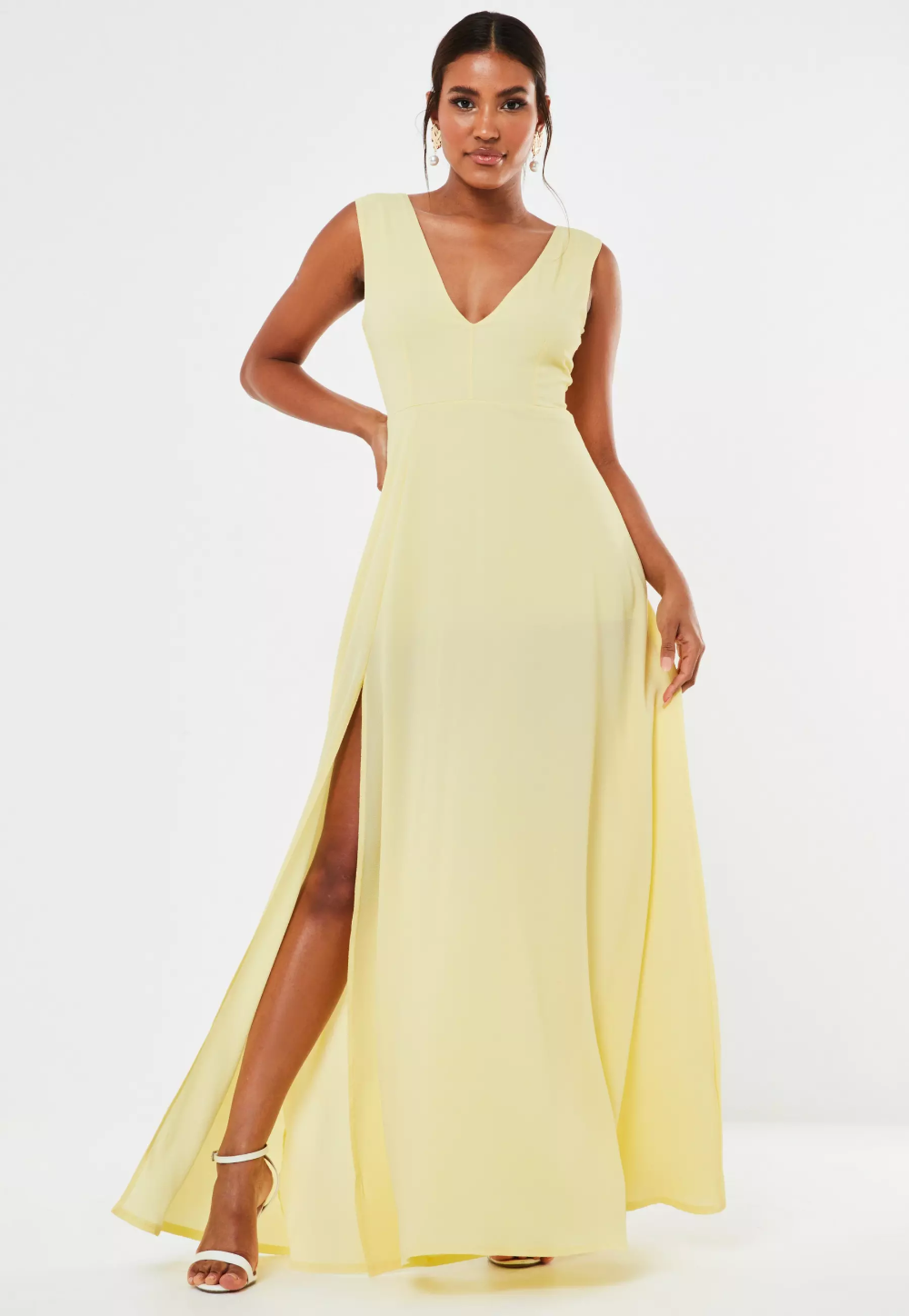 Missguided Yellow Crepe Plunge Maxi Bridesmaid Dress in