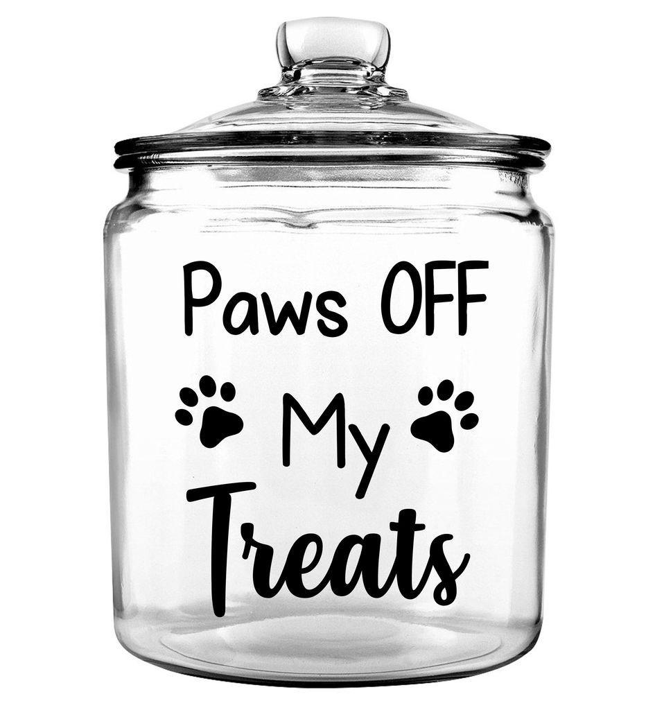Paws Off My Treats Glass Jar With Lid Dog Treat Jar Dog Treat