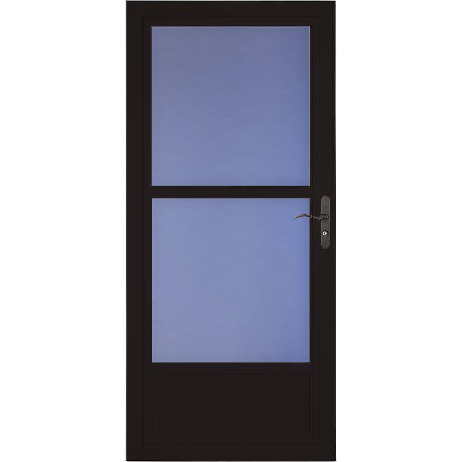 LARSON Tradewinds Selection Black Mid View Aluminum Storm Door With  Retractable Screen (Common: