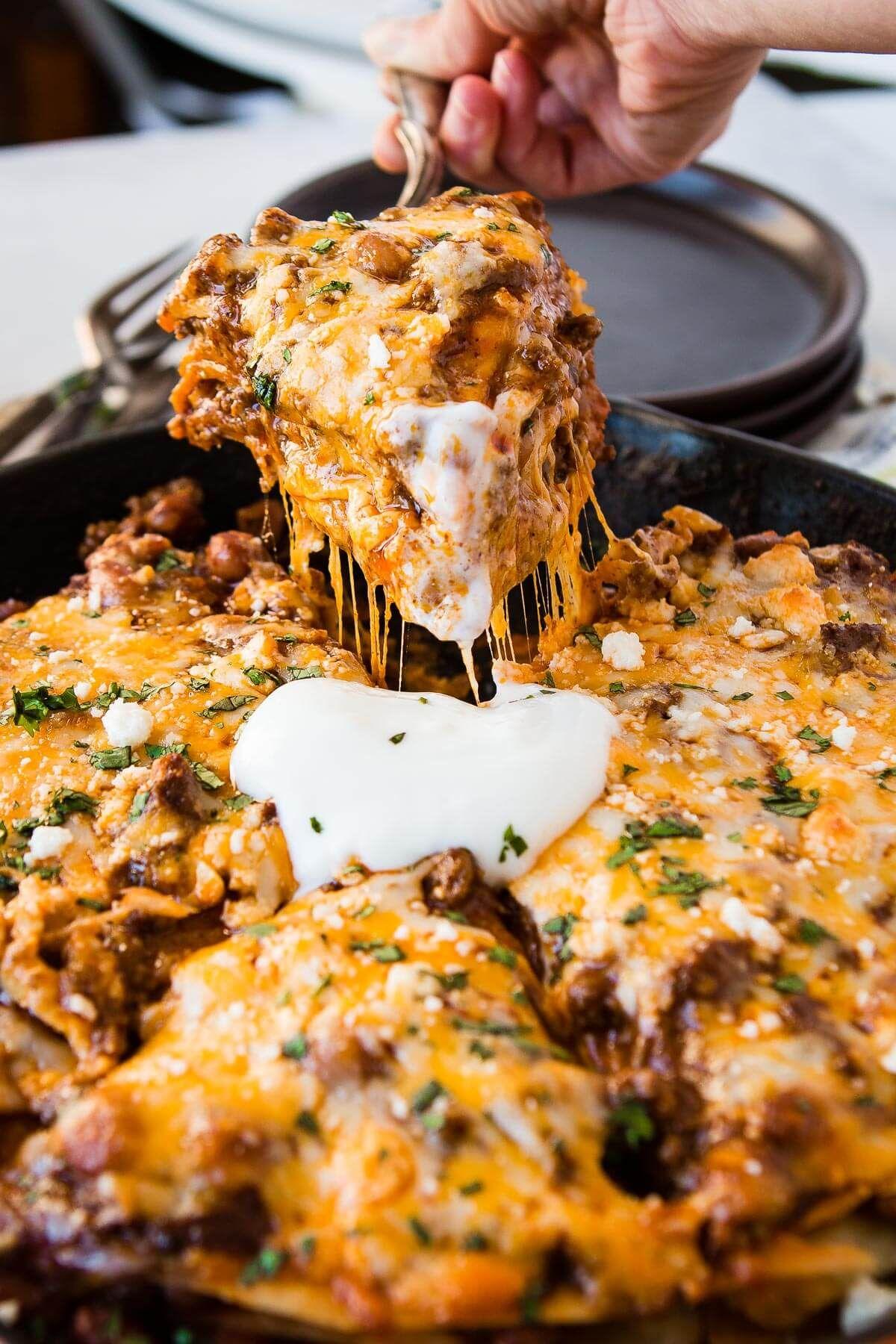 One Skillet Ground Beef Enchilada Casserole Recipe Oh Sweet Basil Recipe Enchilada Casserole Enchilada Casserole Beef Skillet Enchiladas