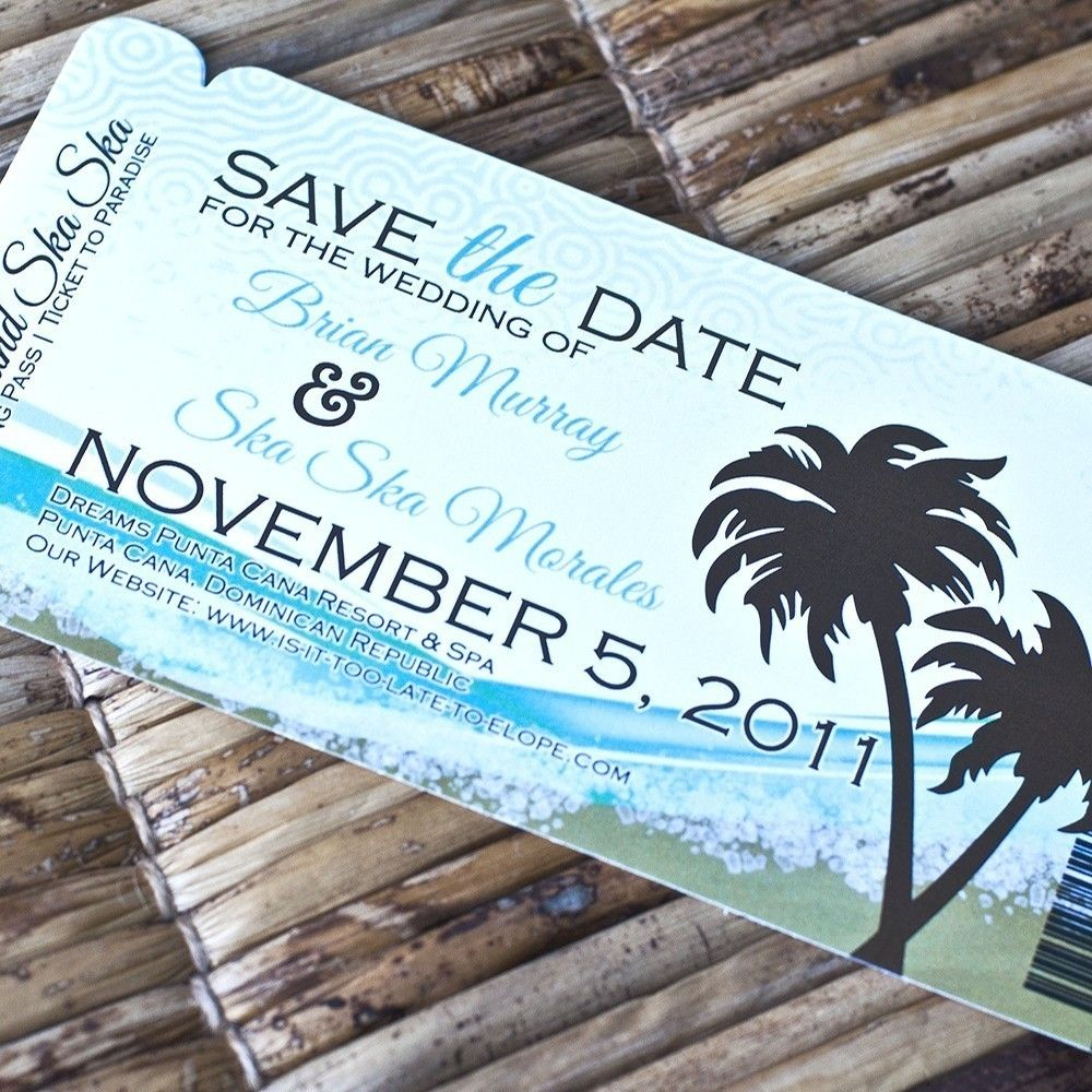 Save The Date Destination Wedding Invitations: Boarding Pass Invitation Or Save The Date Design Fee