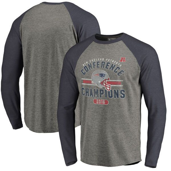 New England Patriots NFL Pro Line by Fanatics Branded 2016 AFC Conference  Champions Vintage Snap Long Sleeve Raglan T-Shirt - Heathered Gray 20e43e07b