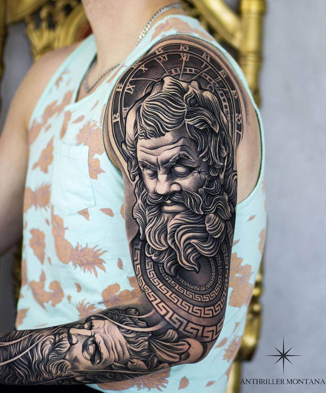 "Poseidon Chest Tattoo : poseidon, chest, tattoo, 6,571, Likes,, Comments, ✷ANTHRILLER.MONTANA✷, (@anthriller_montana), Instagram:, ""✷DENMARK✷, JANUARY, 13-17, 🇩…, Greek, Tattoos,, Poseidon, Tattoo,, Mythology, Tattoos"