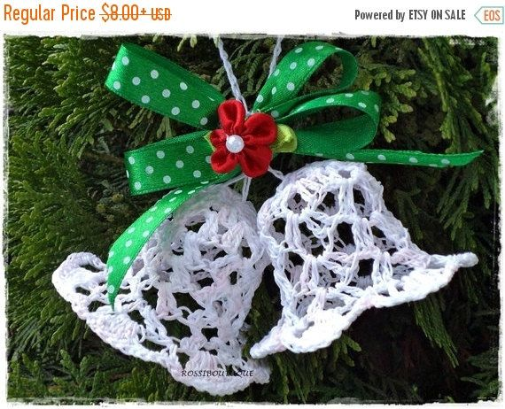 CHRISTMAS SALE Crochet Christmas Bell ornaments White lace crocheted - christmas decorations sale