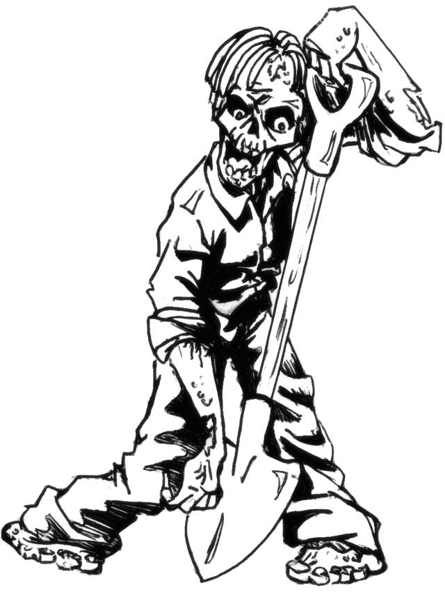 Zombie Hunger Coloring Pages - Halloween cartoon coloring ...