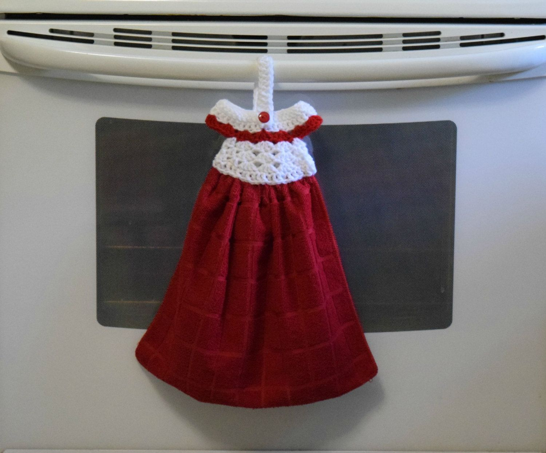 Hanging Kitchen Towel, Kitchen Towel, Crochet Dress Towel Topper ...
