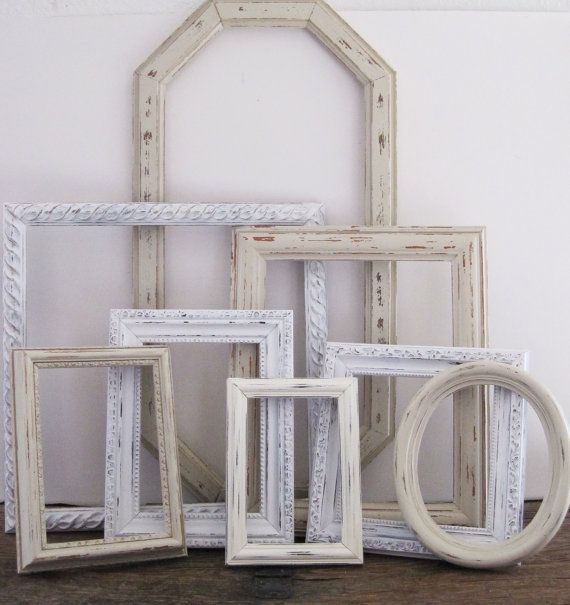 Antique White Picture Frame Set Of 8 Shabby Chic Wall Decor | Shabby ...