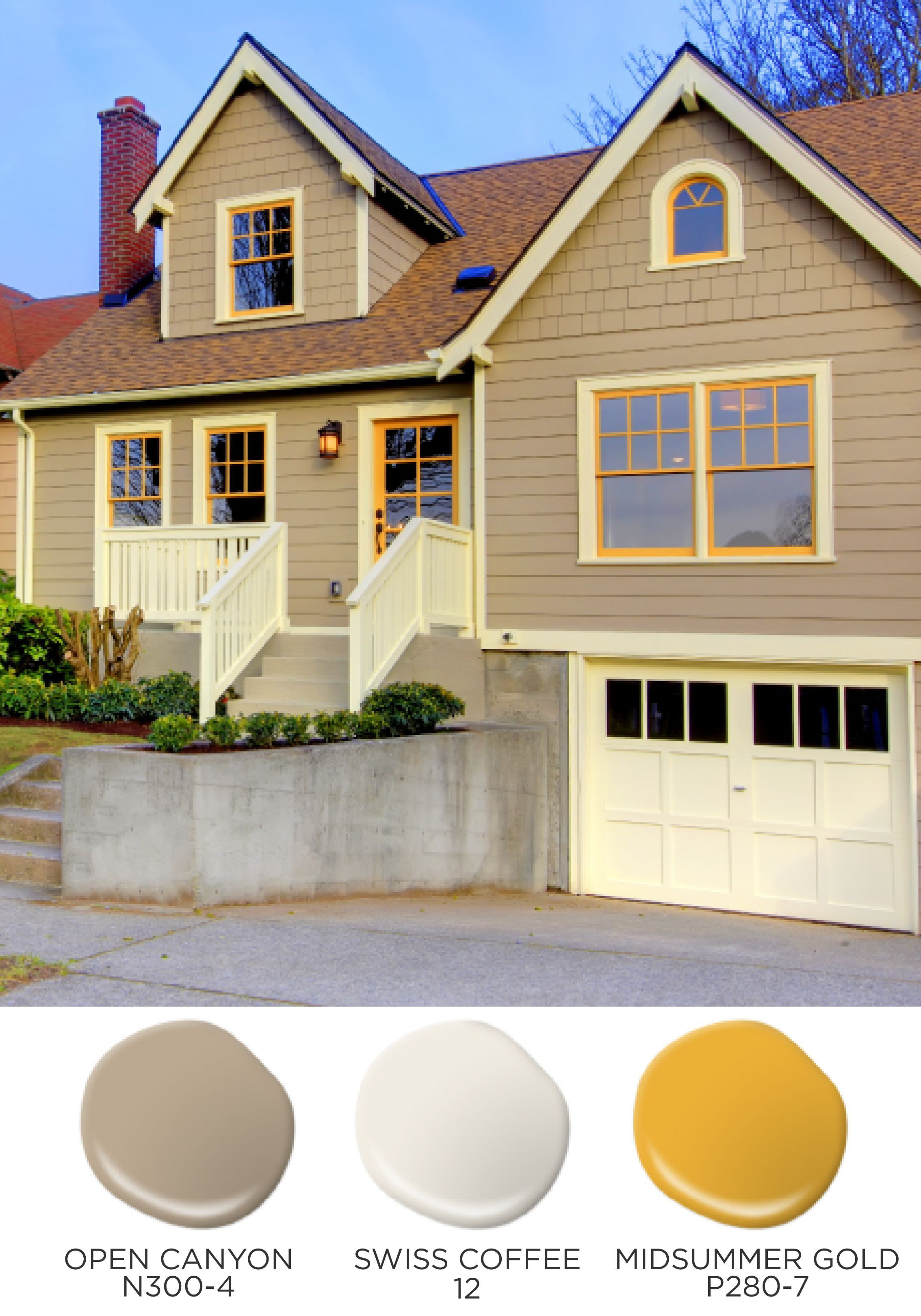 Bright Sunny And Oh So Cheerful The Combination Of Behr Neutrals With A Pop Of Midsummer Gold Will Bre Brown Roof Houses House Exterior Window Trim Exterior