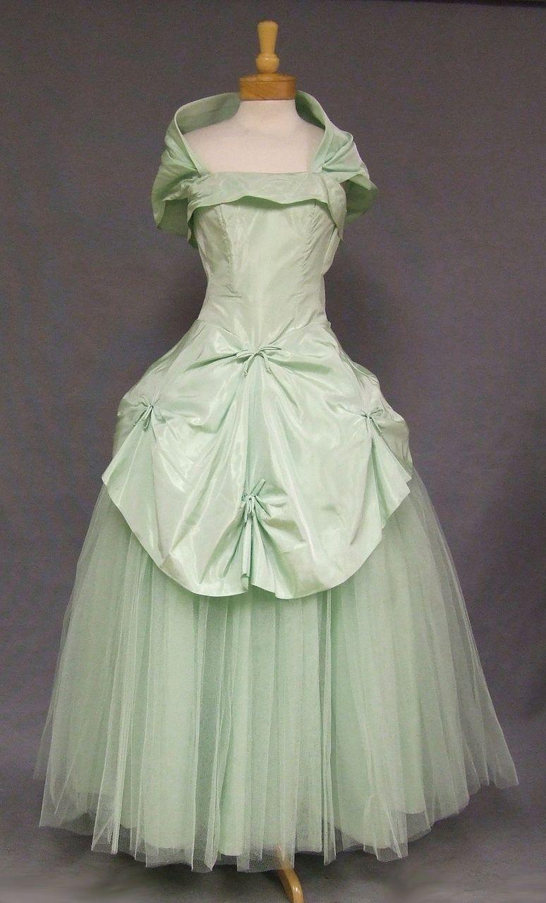 STUNNING Fred Perlberg Strapless Mint Taffeta & Tulle 1950\'s Ball ...