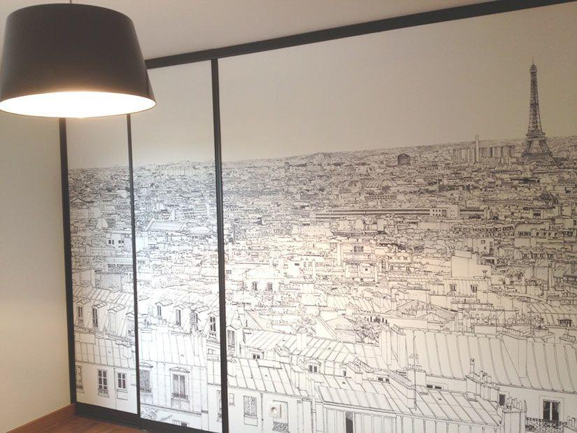 papier peint vue et toits de paris chez ohmywall papier. Black Bedroom Furniture Sets. Home Design Ideas
