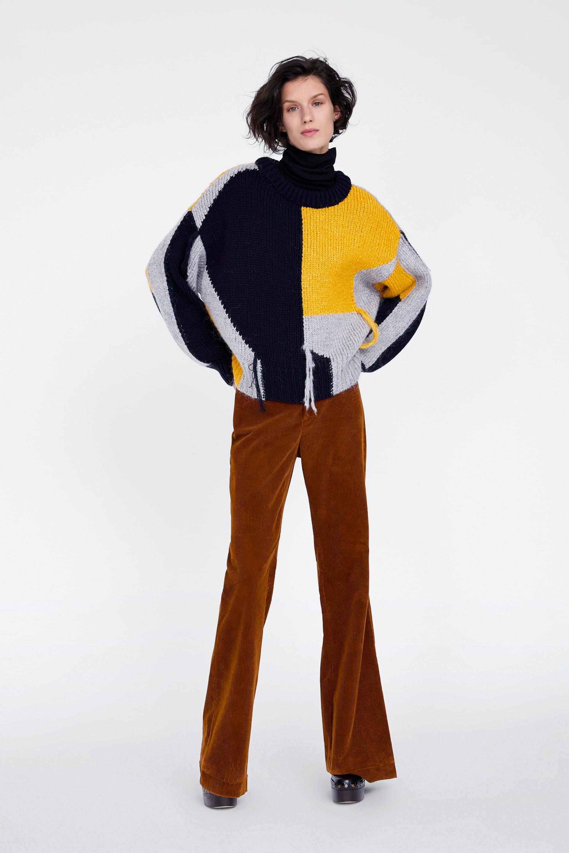zara - woman - fringed contrasting sweater in 2020