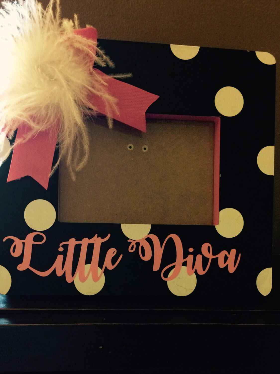 A personal favorite from my Etsy shop https://www.etsy.com/listing/479996438/little-diva-polka-dotted-picture-frame