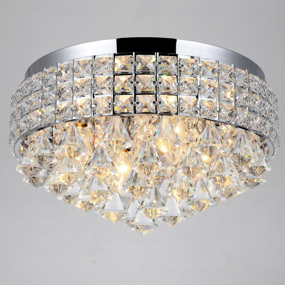 Antonia Ornate Crystal Flush Mount Chandelier In Chrome Ping Big S On