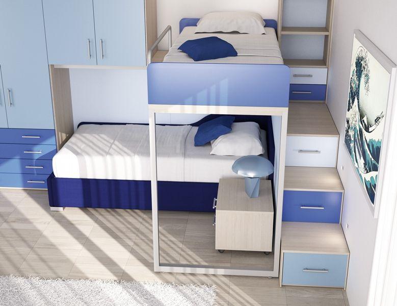 Dalle colonne armadio di fianco al letto e dai pensili sospesi sopra il letto. Pin Su Camerette Con Letti Pensili