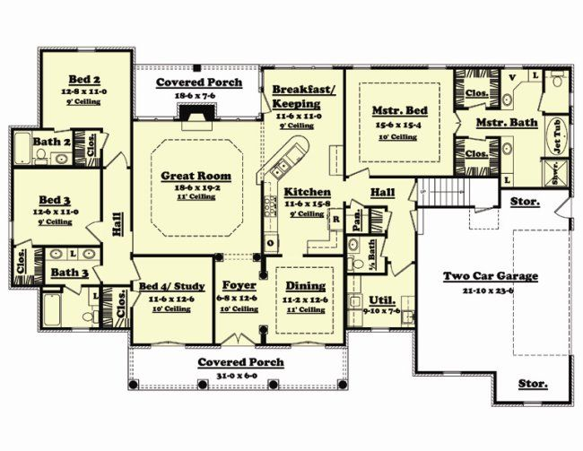 Floor plan 4 bedrooms 2 living rooms under 2000 sq ft for Three bedroom house plans with bonus room