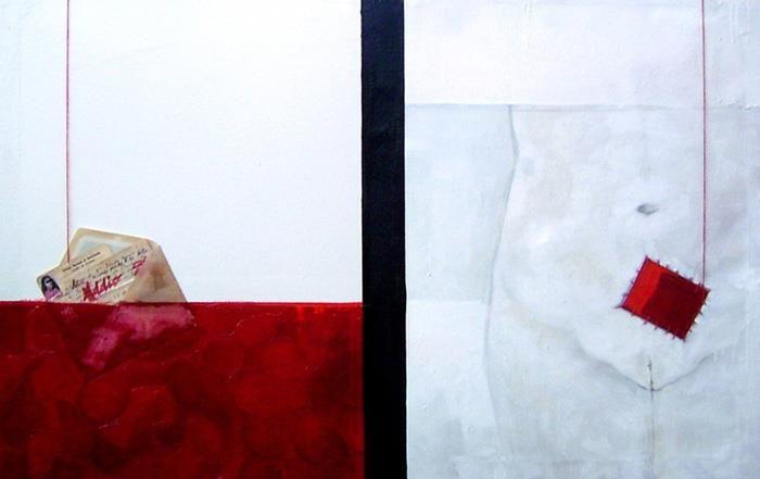 """Angela Viola """"149, 872 Libre CONTRO 68 Kilogrammi"""" 2005  Olio, acetato, collage e cotone rosso su tela  Cm 107 x 70"""