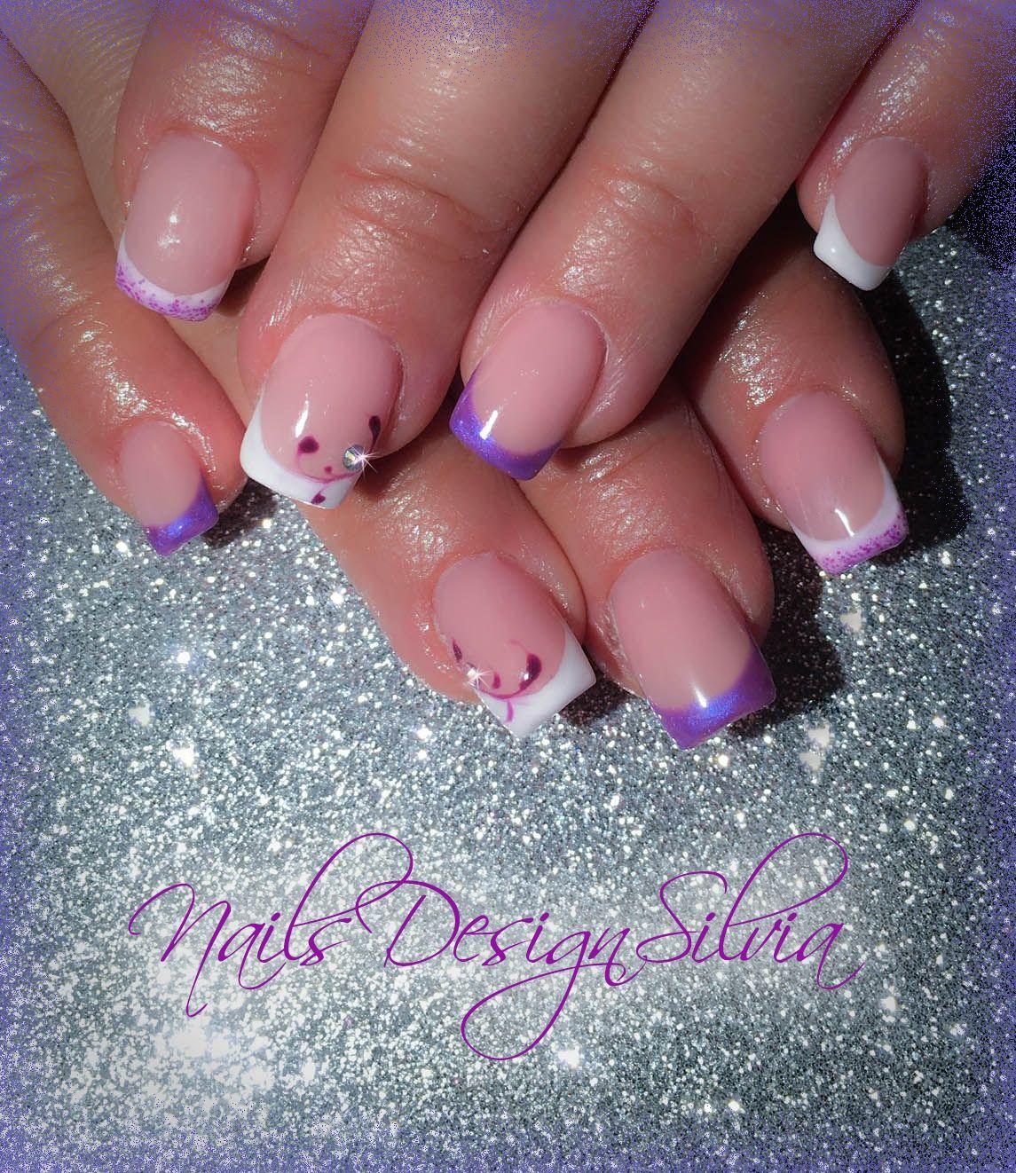 unghie french viola bianco (con immagini) | French unghie ...