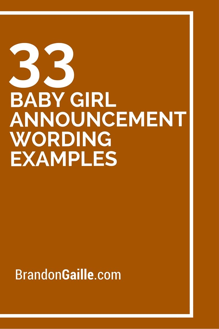 33 Baby Girl Announcement Wording Examples – Sample Birth Announcement Wording