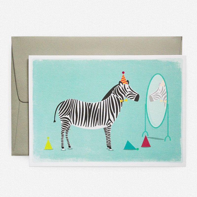 Zebra Party Hats Greeting Card By Dukeandrabbit On Etsy Https
