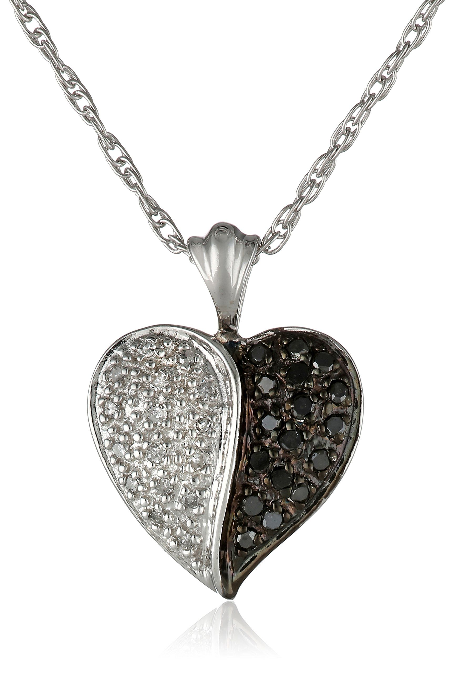 Sterling Silver Black and White Diamond Heart Pendant Necklace 1