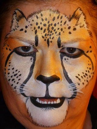 realistic look cheetah face painting bemalte gesichter pinterest kinderschminken gesicht. Black Bedroom Furniture Sets. Home Design Ideas
