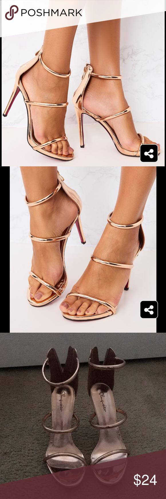21b84d5aa20 Marthea Rose Gold Tube Strap Heeled Sandals Never worn rose gold ...