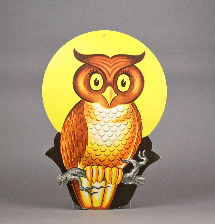 Vintage Halloween Owl Dennison Die Cut Not-Too-Scary Halloween Decor - scary halloween decor