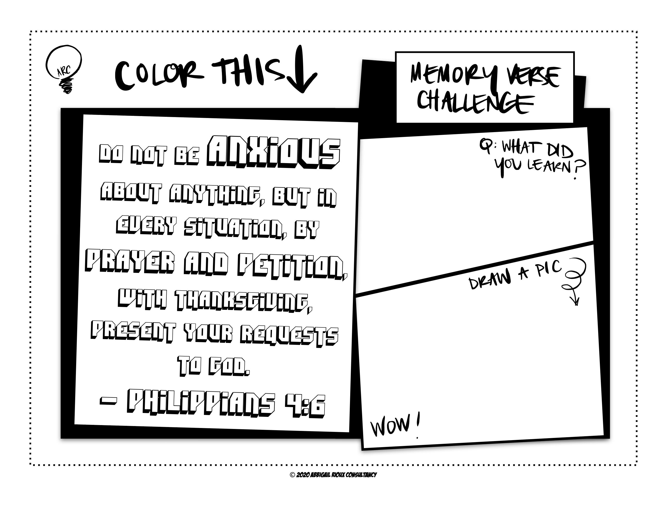 Kids Memory Verse Coloring Worksheet Philippians 4 6 Memory Verses For Kids Memory Verse Prayers For Children