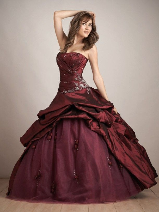 Maroon Color Long Prom Ball Gown Wedding Dress Pictures Photos