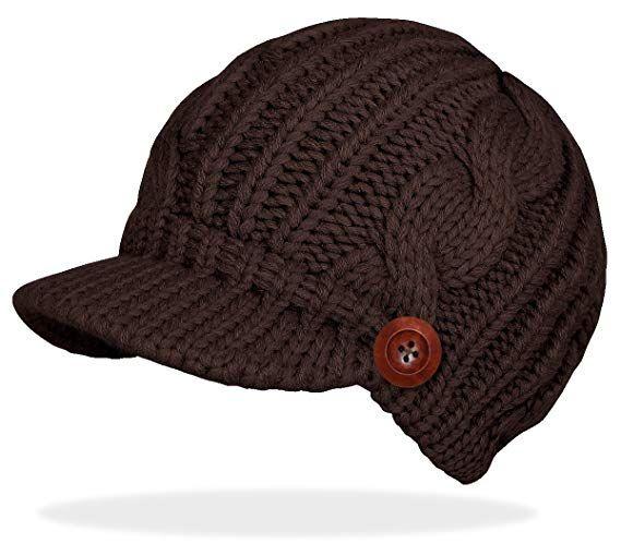 ad8bba107b240e dy_mode Schirmmütze Damen Mütze Strickmütze warme Wintermütze mit Holzknopf  in 4 Farben - A080 (A080