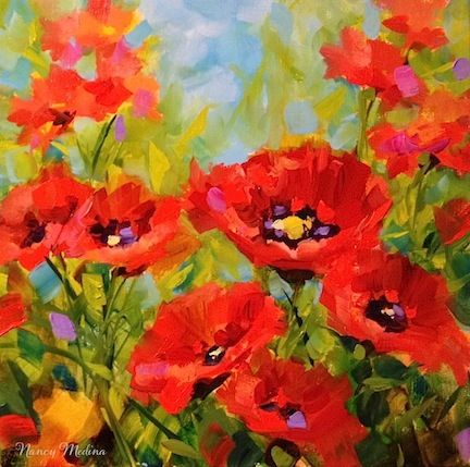 Creative Red Poppy Flower Garden Buds 24x36 Oil On Stretched Canvas Painting By Hand Paintings Home & Garden