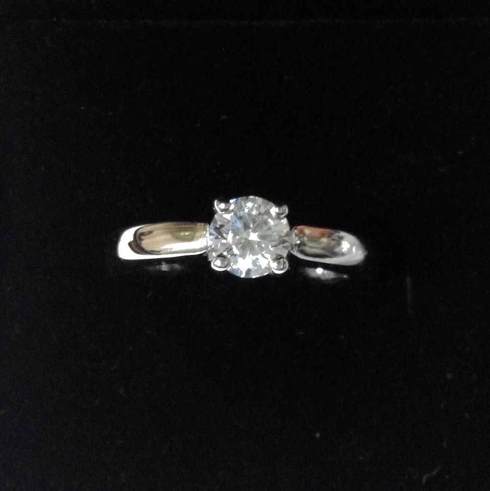 1.03CT Round Cut G/SI2 Real Diamond Engagement Ring 14K Solid White Gold Jewelry #Handmade #Solitaire #Engagement