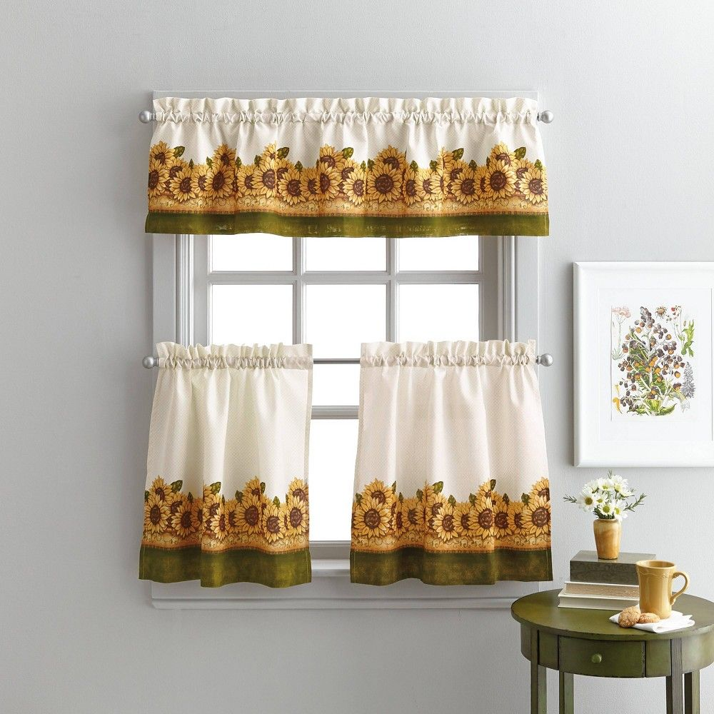 36 X58 Sunflower Garden Tier Set Yellow Chf Industries In 2020 Sunflower Kitchen Decor Sunflower Curtains Valance #sunflower #curtains #for #living #room