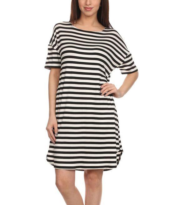 ce764c98caa Black   White Stripe Shift Dress - Plus