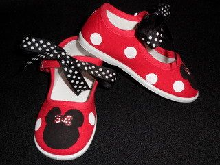 b6b44db254c5d Minnie Mouse Hand Painted Red Mary Jane Shoes with Black Polka Dot ...