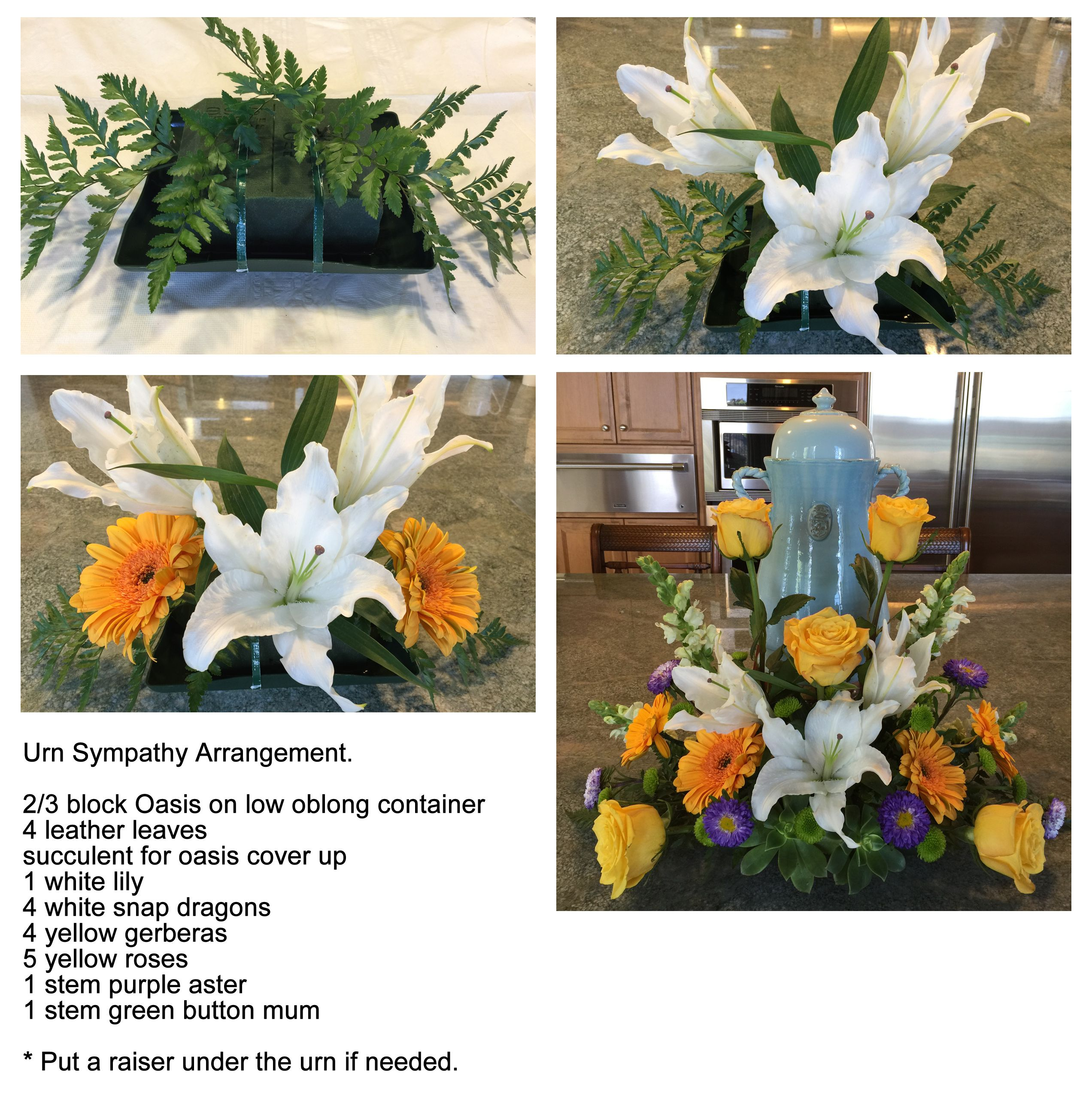 How To Make Sympathy Arrangement For Cremation Urn Arrangement Funeral Arrangement Funeral Flowers Diy Funeral Spray Flowers Funeral Flowers