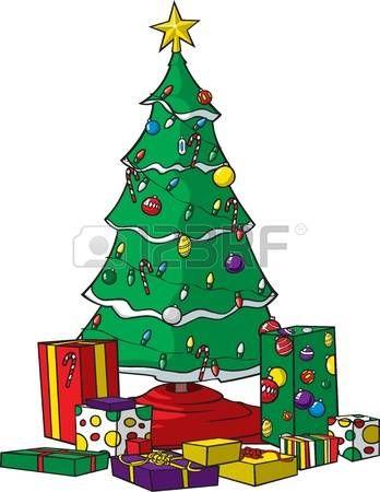 Christmas Tree Vector A Vector Cartoon Christmas Tree With Ornaments Lights And Presents Tree Cartoon Christmas Tree Christmas Tree Ornaments Christmas Tree