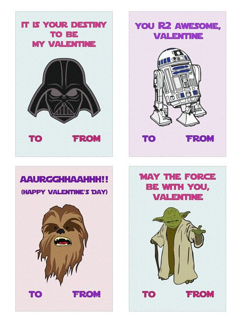 Star Wars Valentines - Printable Cards VirtualPaper Valentines