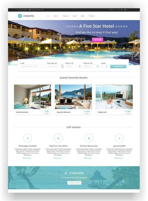Html Hotel Theme Starhotel  Reservation Form And Revolution