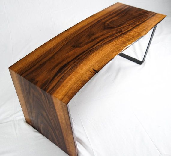 Curly Walnut Waterfall Live Edge Wood Slab Coffee Table
