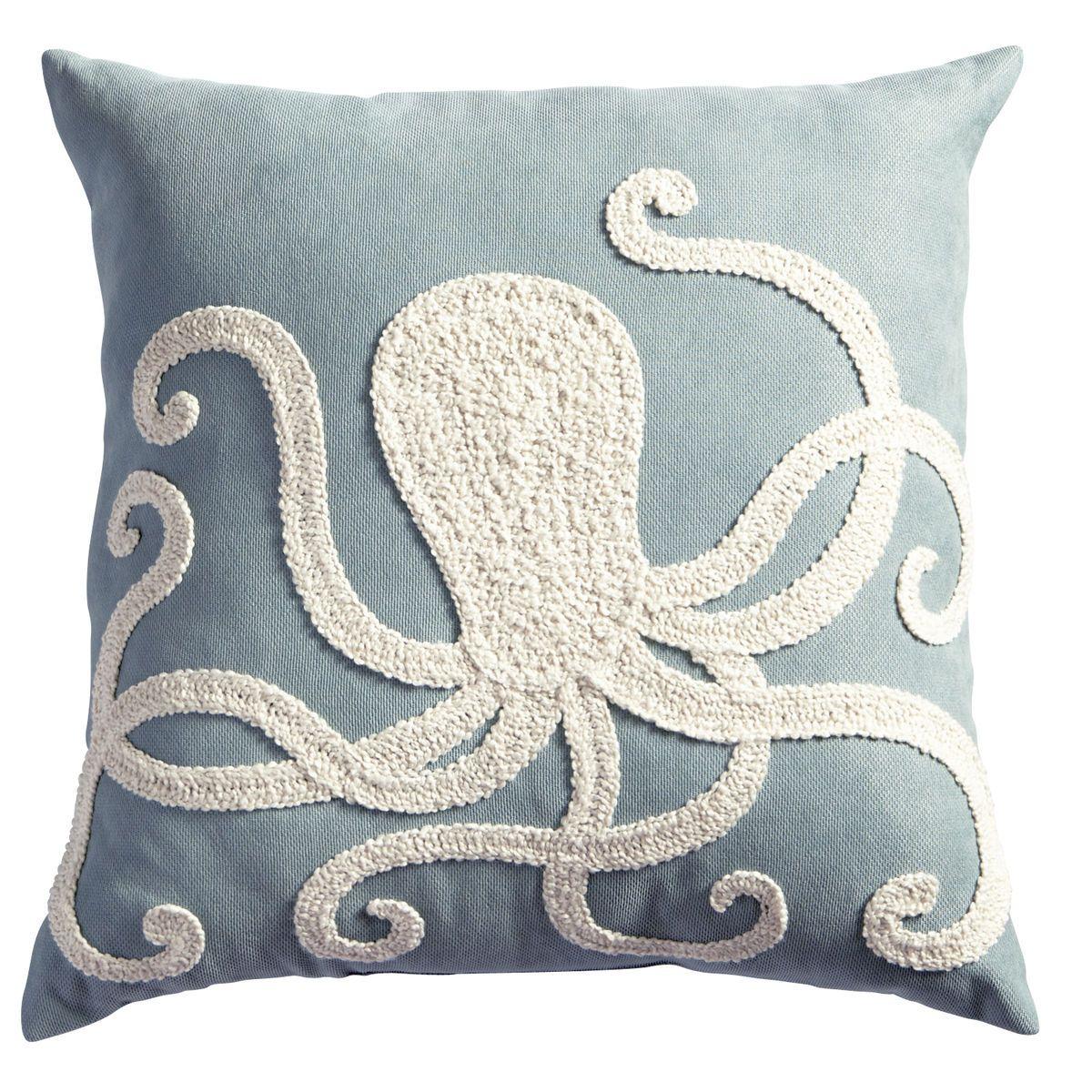 Octopus Embroidered Pillow Octopus Pillow Octopus Decor Embroidered Pillow