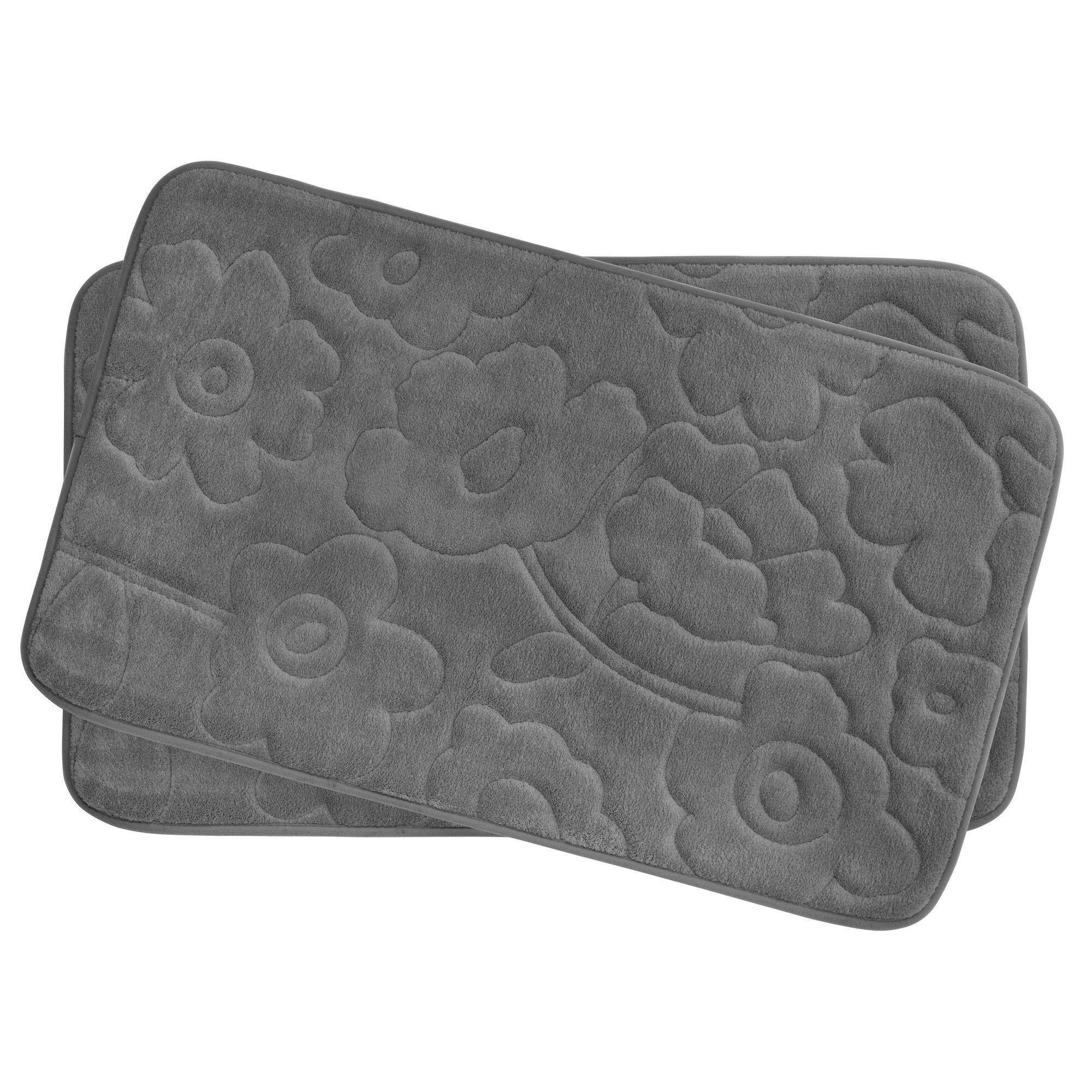 Stencil Floral Small 2 Piece Plush Memory Foam Bath Mat Set Bath