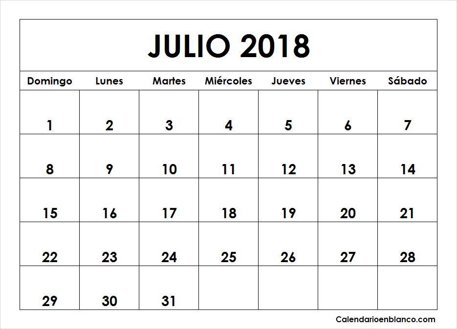 Julio Calendario.Calendario Julio 2018 Para Imprimir Calendario 2018 Calendario