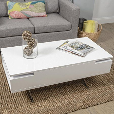 Mix High Gloss Lacquer Wood Stainless Steel Legs White Lift Top