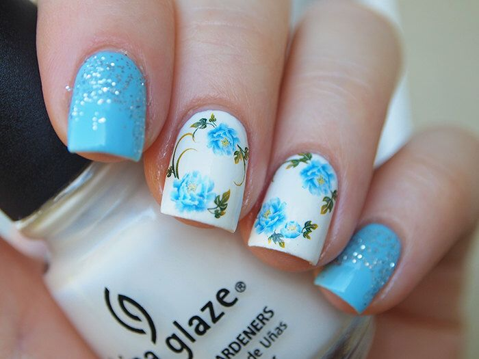 Blue peonies nail decals/ Floral nail water decals/ Nail art ...