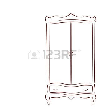Armoire Dessin armoire dessin: sketched vintage wardrobe isolated on white