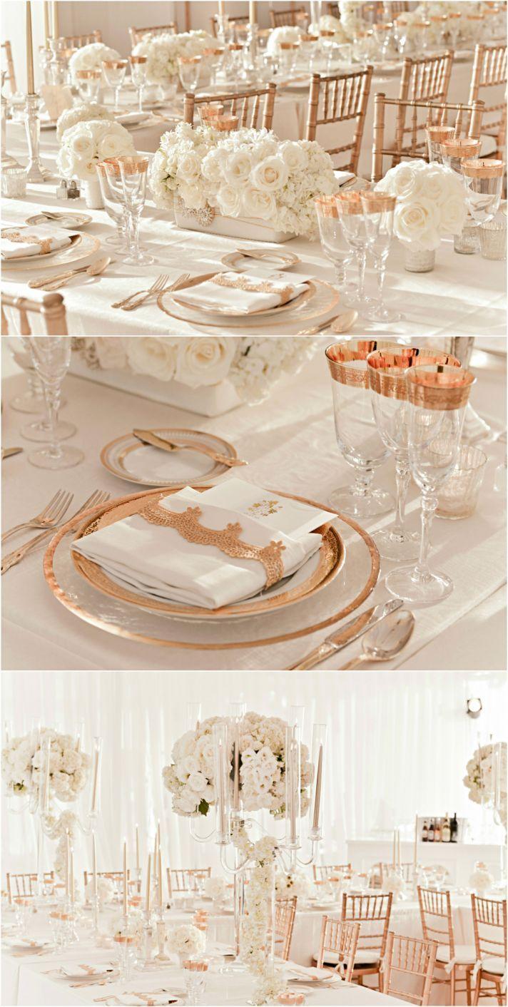 White wedding decoration ideas  rose gold and ivory wedding reception decor  Creative Ways to
