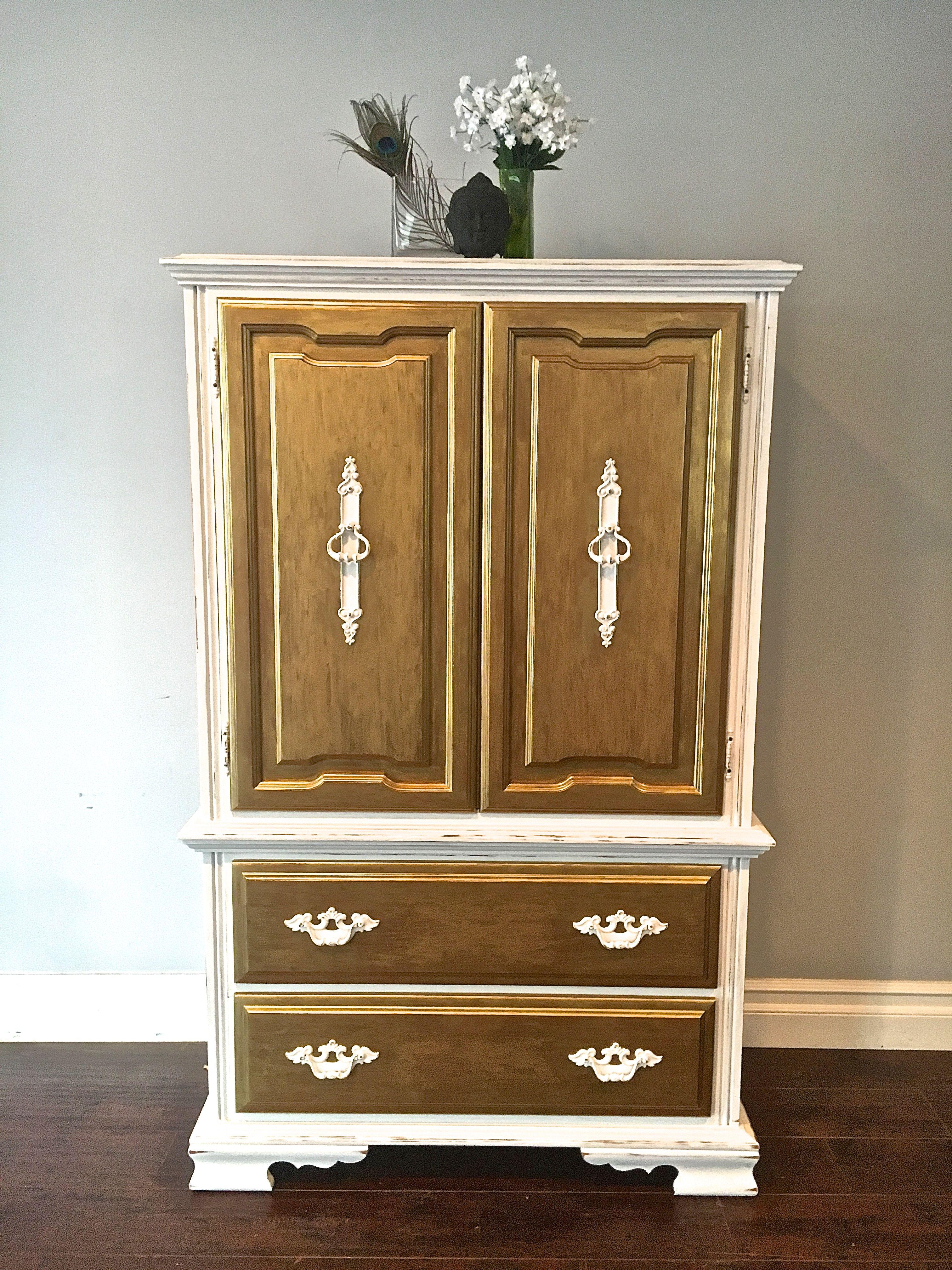 White Gold Leaf Highboy Dresser Custom Order For Emily